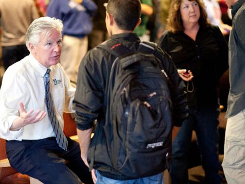 Chancellor Marty Meehan talking to students at UMass Lowell