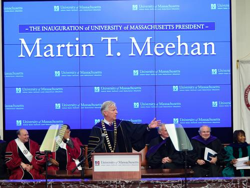 Marty Meehan speaking at his inauguration as President of the UMass System