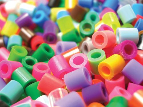 Pile of colorful plastic beads