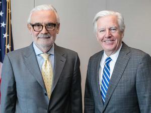 UMass Boston chancellor Marcelo Suárez-Orozco (left) and UMass President Marty Meehan (right)