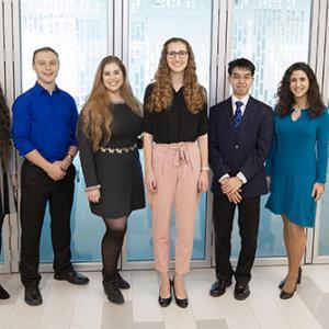 From left to right: Rachel Bargoot, Jacob Kaplan, Morgane Golan, Zoe Kearney, Kenneth Lin and Cinzia Presti.