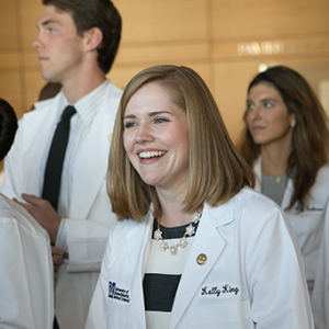 Members of the Class of 2020 will be allowed to begin their careers early, as announced today by Chancellor Collins. Here, they receive their white coats in 2016.