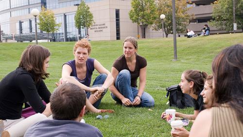 Students outside at UMass Chan