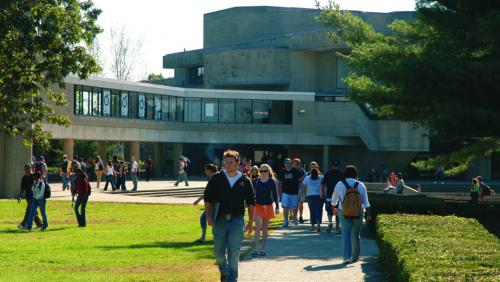 Students walking on UMass Dartmouth campus