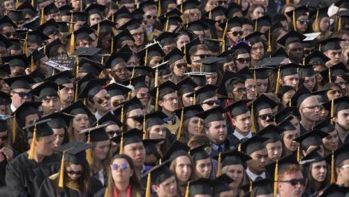 Crowd of graduating students