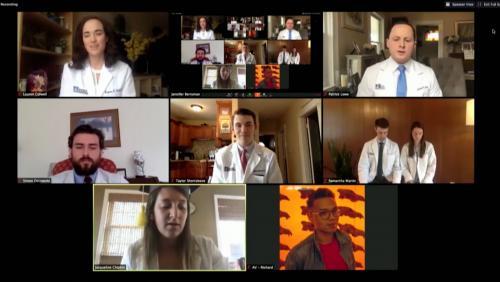 Screenshot from online UMass Medical School commencement ceremony