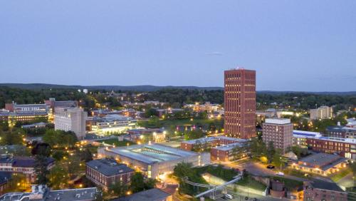 UMass Amherst campus aerial view